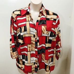 NOTATIONS Size 1X Blouse Red Black Beige Geometric